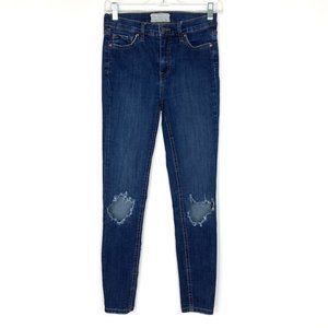 Free People High Waist Busted Knee Ankle Jeans